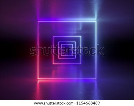 3d render, abstract fashion background, glowing lines, violet neon lights, ultraviolet neon square portal, tunnel, corridor, virtual reality, arch, pink blue vibrant colors, laser show