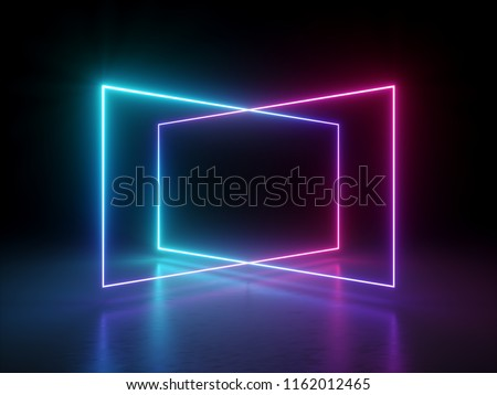 3d render, abstract fluorescent background, laser show, night club interior lights, pink blue glowing lines, virtual reality, psychedelic spectrum, geometric shapes