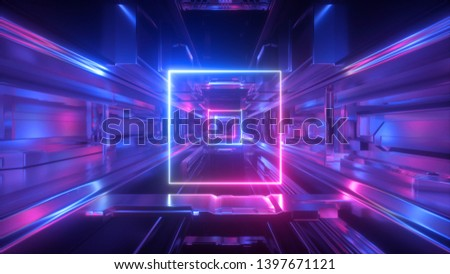 3d render, abstract futuristic geometric background, glowing square frame inside long tunnel, corridor, ultraviolet neon light, space station interior, virtual reality space