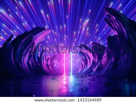 3d render, abstract futuristic neon background, pink blue fireworks over cosmic landscape, glowing rectangular frame, ultraviolet light, virtual reality space, energy source, mountains, rocks, grid