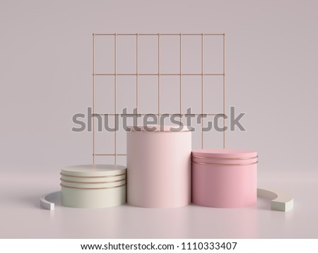 3d render, abstract geometric background, cylinder podium, minimalistic primitive shapes, modern mock up, blank template, rose gold metal grid, empty showcase, shop display, blush pink pastel colors