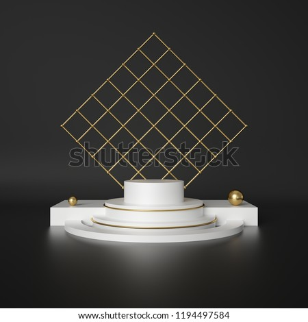 3d render, abstract geometric background, cylinder podium, minimalistic primitive shapes, modern mock up, blank template, gold metal grid, mesh, empty showcase, shop display