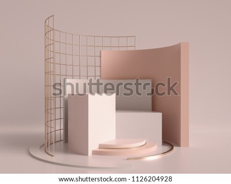 3d render, abstract geometric background, minimalistic primitive shapes, modern mock up, cylinder podium, blank template, rose gold metal grid, empty showcase, shop display, blush pink pastel colors