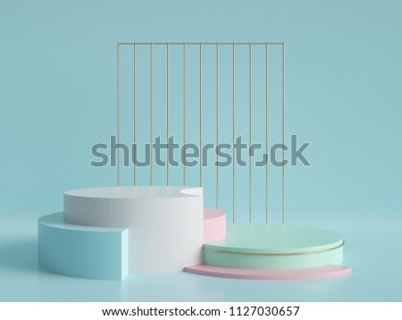 3d render, abstract geometric background, minimalistic primitive shapes, modern mock up, cylinder podium, blank template, gold metal grid, empty showcase, shop display, mint blue pink pastel colors