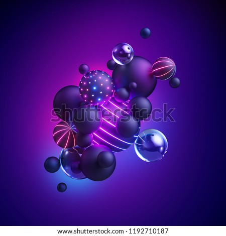 3d render, abstract geometric background, neon light, ultraviolet spectrum, glowing decorative balls, balloons, candy, primitive shapes, minimalistic design, party decoration, toys, isolated elements