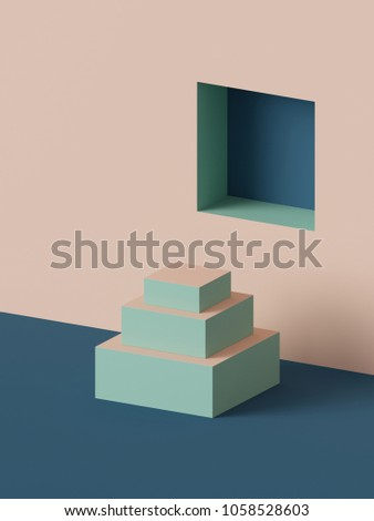 3d render, abstract geometric background, stairs, fashion podium, mock up, blank template, minimalistic empty showcase, primitive shapes, square niche, art deco shop display, pastel colors