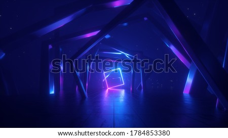 3d render, abstract geometric background with neon light, cosmic wallpaper with polygonal structure, square frame inside the tunnel, ultraviolet spectrum
