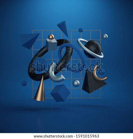 3d render. Abstract geometric primitive shapes flying, levitating objects, jumping toys, falling primitives. Isolated on blue background. Modern minimal concept. Classic blue color of the year 2020