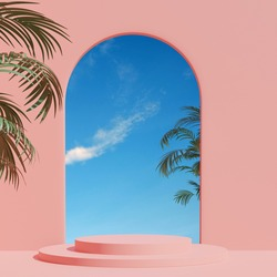 3d render, abstract geometric shape pastel pink , summer scene minimal design, product display,  Pink Interior Background with sky and summer plant.JPG