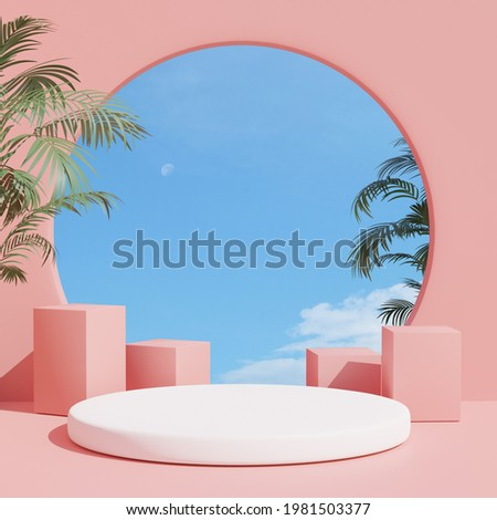 3d render, abstract geometric shape pastel pink , summer scene minimal design, product display,  Pink Interior Background with sky and summer plant