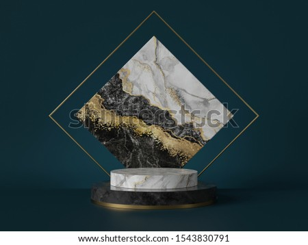 3d render, abstract green background with black white marble texture, gold foil. Cylinder pedestal, podium, showcase stand. Square slab, rhombus shape, art deco design, luxury minimal mockup