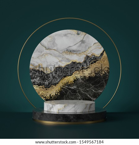 3d render, abstract green background with black white marble texture, gold foil. Cylinder pedestal, podium, showcase stand. Round slab shape, art deco design, luxury minimal mockup