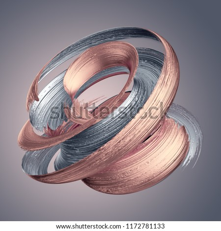 3d render, abstract metallic brushstroke, rose gold, silver paint smear, splashing platinum shape, shiny foil, ribbon, isolated clip art