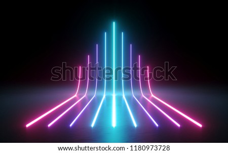 3d render, abstract minimal background, glowing lines going up, arrow, chart, pink blue neon lights, ultraviolet spectrum, laser show