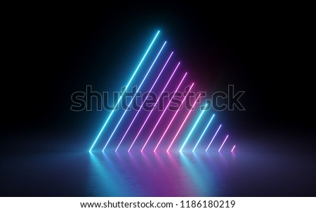 3d render, abstract minimal background, glowing lines, triangle shape, pink blue neon lights, ultraviolet spectrum, laser show