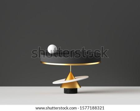 3d render, abstract minimal background. Gold, black white primitive geometric shapes, modern urban concept. Blank pedestal, cylinder podium, commercial showcase stand. Digital design