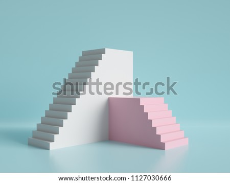 3d render, abstract minimal background, pink and white stairs, podium, pastel colors