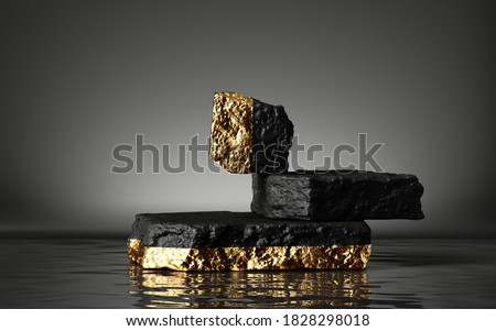3d render, abstract minimal background with rough black and gold cobblestones, reflection in the water on the wet floor. Trendy fashion showcase with coal stone platform for product displaying Сток-фото ©