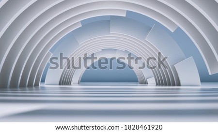 3d render, abstract minimal background with white round arches. Сток-фото ©