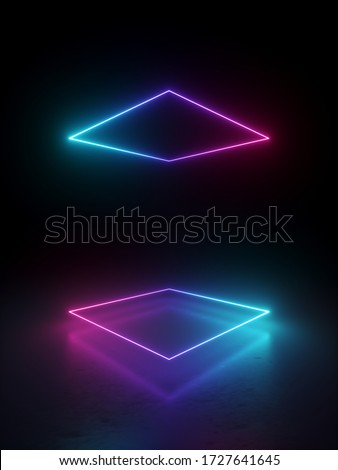 3d render, abstract minimal geometric background. Glowing neon lines. Stage laser show illumination. Blank rectangular shapes, square frames, virtual reality with copy space