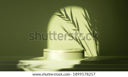 3d render abstract minimal green background. Empty stage with steps and cylinder podium, contrast leaf shadow, bright sunlight going through round arch. Minimal showcase for displaying organic product Stockfoto ©