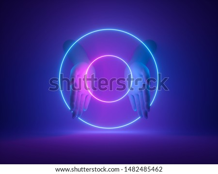 3d render, abstract minimal neon background, mannequin hands in ultraviolet light, pink blue glowing rings, magical round shapes, witch occult ritual, halloween mockup, fashion concept