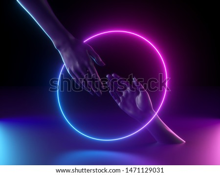 3d render, abstract minimal neon background, mannequin hands interacting, ultraviolet light, pink blue glowing round frame, fashion concept, virtual reality