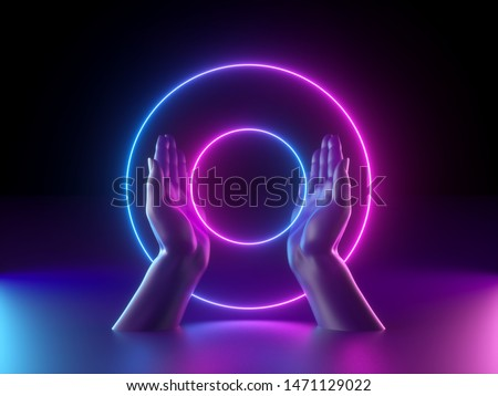 3d render, abstract minimal neon background, mannequin hands, pink blue glowing ring, round shape, witch drawing mysterious symbol, occult ritual, halloween mockup, ultraviolet light, fashion concept