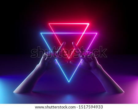3d render, abstract minimal neon background, mannequin hands, red blue glowing geometric sign, witch drawing mysterious symbol, occult ritual, halloween mockup, ultraviolet light, fashion concept