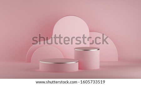 3d render, abstract minimal pink background, empty room. Cylinder podium, vacant pedestal, round stage, showcase stand, blank product display platform. Copy space. Premium design, horizontal poster