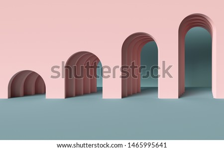 3d render, abstract minimalist geometric background, architectural concept, arch inside pink wall, paper layers, paper layers