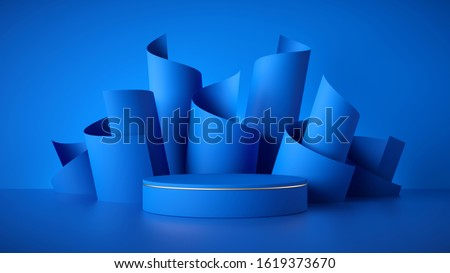 3d render, abstract modern blue background, empty cylinder podium, vacant pedestal, shop product display, showcase, round stage. Scrolled paper rolls