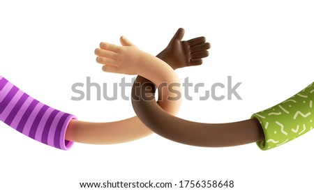3d render abstract modern interracial relationship concept, cartoon twisted elastic caucasian and african hands, open palms. Surrealistic clip art isolated on white background