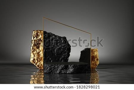 3d render, abstract modern minimal background with black and gold cobblestones, reflection in the water. Showcase for black friday sale with empty platform for product displaying