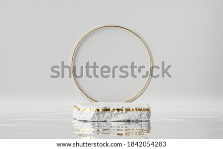 3d render, abstract modern minimal background with golden ring, white cobble and reflection in the water. Empty podium. Blank showcase mockup for product displaying Сток-фото ©