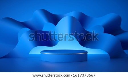 3d render, abstract modern minimal blue background, empty cylinder podium, vacant pedestal, shop product display, showcase, round stage. Wavy paper ribbons