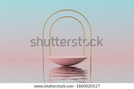 3d render, abstract modern minimal pink blue background with empty hemisphere podium, golden arch frame and reflection in the water on the wet floor. Showcase with space for product displaying