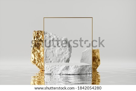 3d render, abstract modern minimal white background with golden cobblestones and reflection on the wet floor. Trendy showcase with golden square frame and empty rock platform for product displaying