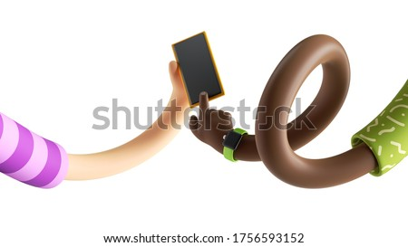 3d render abstract modern wireless technology concept, cartoon twisted elastic caucasian and african hands hold smartphone. Blank gadget mockup. Surrealistic clip art isolated on white background