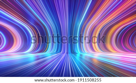 3d render, abstract multicolor spectrum background, bright orange blue neon rays and colorful glowing lines