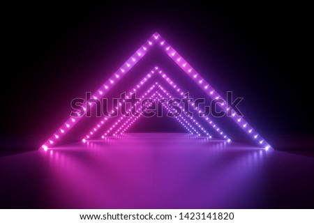 3d render, abstract neon background, fashion podium in ultraviolet light, performance stage decoration, glowing triangle shapes, illuminated night club corridor with triangular arcade