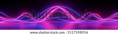 3d render, abstract panoramic background with glowing neon waves, ultraviolet light, equalizer chart, laser show, impulse, pulse power lines