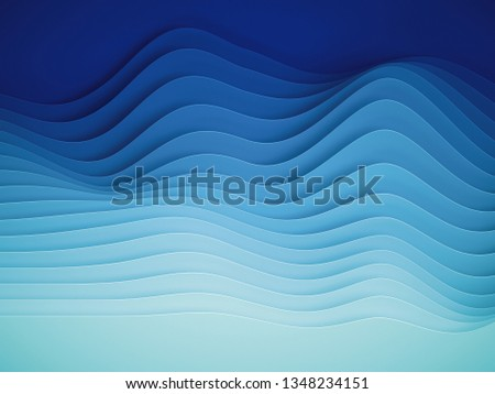 3d render, abstract paper shapes background, sliced layers, waves, hills, gradient blend, equalizer stock photo