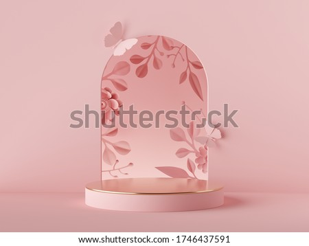 3d render abstract pink background. Floral arch and paper flowers, modern fashion design. Shop showcase product display, empty podium, vacant pedestal, round stage. Blank poster mockup with copy space
