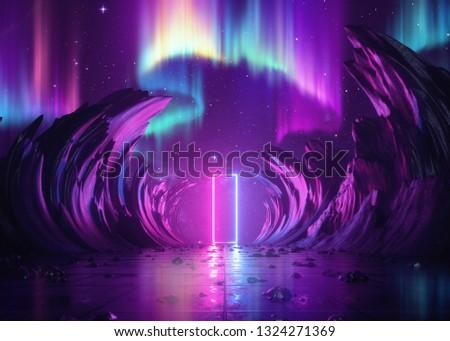 3d render, abstract pink blue neon background, cosmic landscape, northern polar lights, esoteric rectangular portal, virtual reality, ultraviolet spectrum, rocks