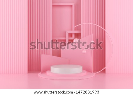 3d render abstract platform, minimal pastel podium display scene.