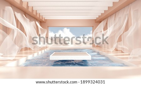 3d render abstract platform podium on water and waving curtains. Realistic pastel mock-up for products promotion. Abstract modern minimal background with emty podium.