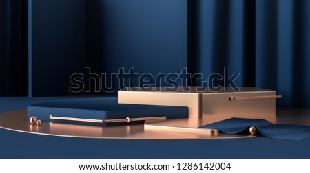 3d render abstract platforms with golden, dark blue shapes and curtains. Geometric figures in modern minimal design. Realistic mock up for promotion, banners background, product show.