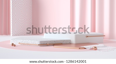 3d render abstract platforms with golden, pink and white shapes and curtains. Geometric figures in modern minimal design. Realistic mock up for promotion, banners background, product show.