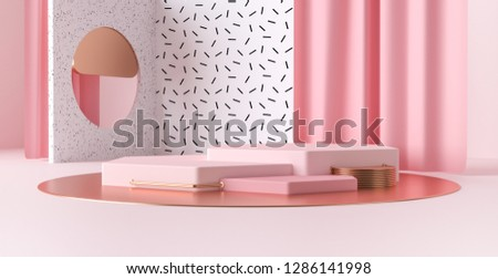 3d render abstract platforms with golden, pink shapes and curtains. Geometric figures in modern minimal design. Realistic mock up for promotion, banners background, product show.